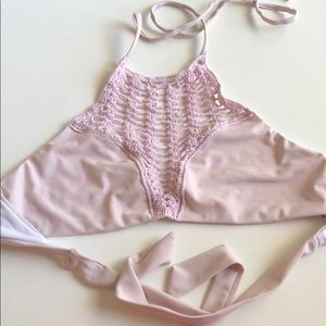 LA hearts crochet bikini top